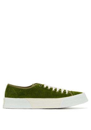 Ami - Cotton Corduroy Flatform Trainers - Mens - Green