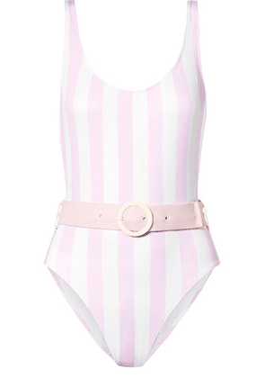 Solid & Striped - The Anne-marie Belted Striped Swimsuit - Baby pink