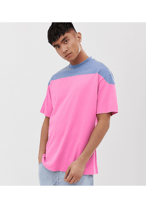 COLLUSION washed colour blocked t-shirt in pink