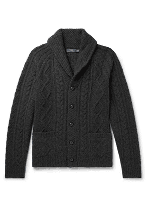 Polo Ralph Lauren - Shawl-collar Cable-knit Wool And Cashmere-blend Cardigan - Black