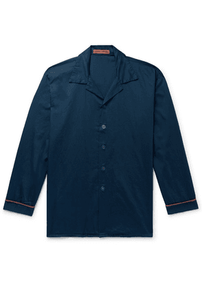 Cleverly Laundry - Piped Garment-dyed Washed-cotton Pyjama Shirt - Navy