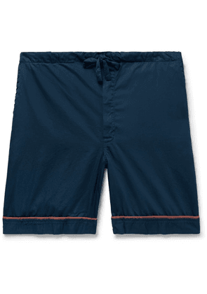 Cleverly Laundry - Piped Garment-dyed Washed-cotton Pyjama Shorts - Navy