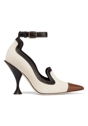 Burberry - Leather-trimmed Canvas Pumps - Beige