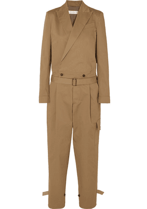 TRE by Natalie Ratabesi - Belted Cotton-blend Twill Jumpsuit - Beige