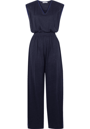 Ninety Percent - Shirred Linen Jumpsuit - Navy