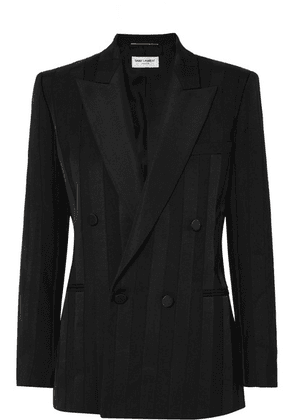 SAINT LAURENT - Double-breasted Grosgrain-trimmed Wool Blazer - Black