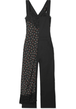 Junya Watanabe - Layered Lace-trimmed Floral-print Crepe And Wool Jumpsuit - Black