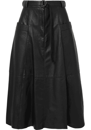 Nili Lotan - Lila Belted Leather Midi Skirt - Black