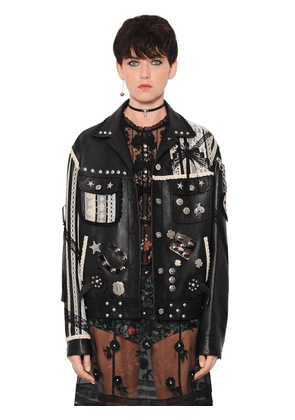 Embroidered & Studded Leather Jacket