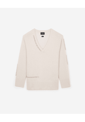 The Kooples - pink v-neck cashmere sweater with piercing detail - pink