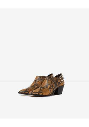 The Kooples - fake python leather ankle boots with studs - yellow