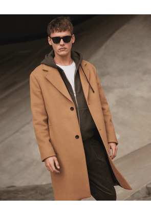 The Kooples - long camel wool blend coat - camel