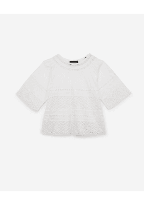 The Kooples - short white embroidered cotton top - raw