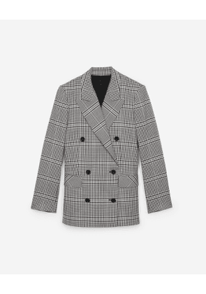 The Kooples - ecru, black and burgundy check suit jacket - raw