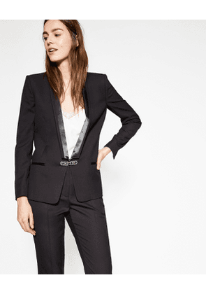 The Kooples - black suit jacket with satin collar - bla