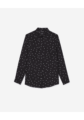 The Kooples - dull matte crepe shirt with queen of hearts print - bla