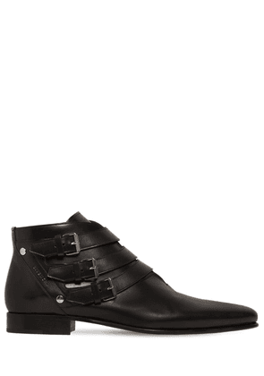Leather Boots W/ Buckle Details
