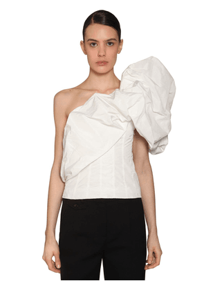 One Shoulder Taffeta Top