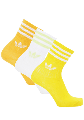 Mid Cut Solid Crew 3 Pack Cotton Socks
