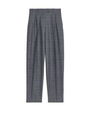 Wool Blend Checked Trousers - Grey