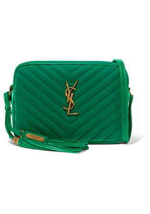 SAINT LAURENT - Lou Medium Leather-trimmed Quilted Velvet Shoulder Bag - Emerald