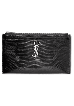 SAINT LAURENT - Lizard-effect Glossed-leather Wallet - Black
