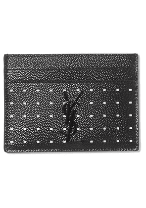 SAINT LAURENT - Printed Textured-leather Cardholder - Black