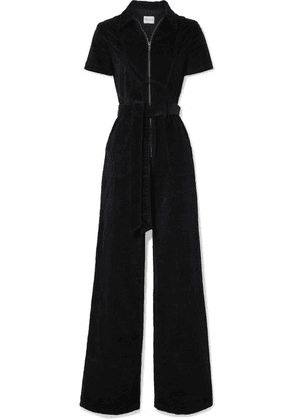 Alice + Olivia - Gorgeous Belted Cotton-blend Corduroy Jumpsuit - Black