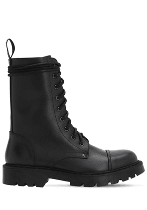 Leather Army Boots W/ Logo Tag