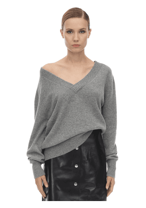 Double V Neck Cashmere Knit Sweater