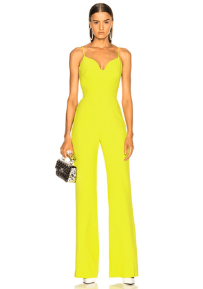 Brandon Maxwell Stretch Crepe Sweetheart Jumpsuit in Lime - Yellow. Size 4 (also in ).