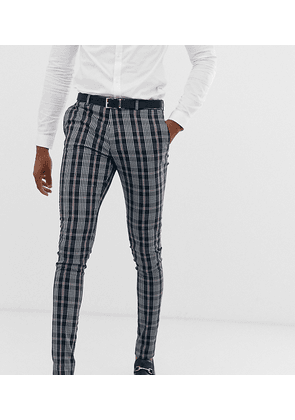 ASOS DESIGN Tall skinny suit trousers in navy tartan check