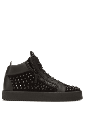Giuseppe Zanotti - Suede mid-top sneaker with black crystals DORIS