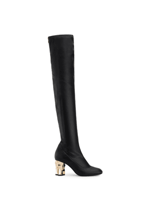 Giuseppe Zanotti - Stretch leather cuissard boot with 'sculpted' heel GHIACCIO