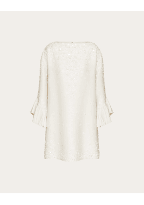 Valentino Embroidered Crêpe Couture Dress Women Ivory  40
