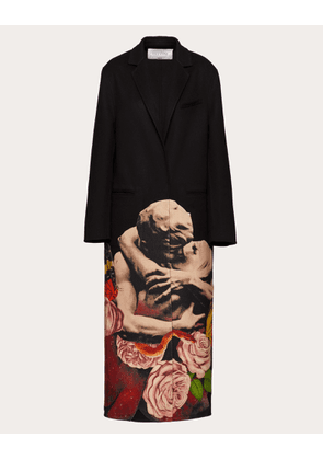 Valentino Compact Drap Coat With Applied Undercover Print Women Multicoloured Virgin Wool 95%, Cashmere 5% 38