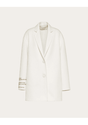 Valentino Compact Drap Coat With Poetry Detailing Women Ivory Virgin Wool 95%, Cashmere 5% 42