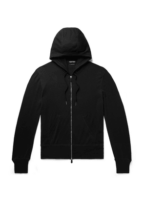 TOM FORD - Slim-fit Cotton, Silk And Cashmere-blend Zip-up Hoodie - Black