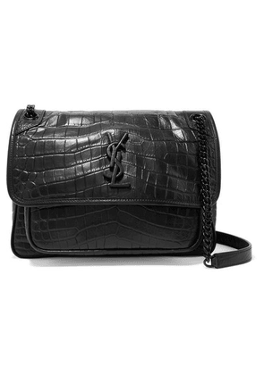 SAINT LAURENT - Niki Medium Glossed Croc-effect Leather Shoulder Bag - Black