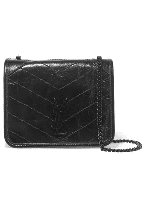 SAINT LAURENT - Niki Mini Crinkled Glossed-leather Shoulder Bag - Black