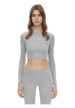 Cropped Logo Print Cotton Jersey Top
