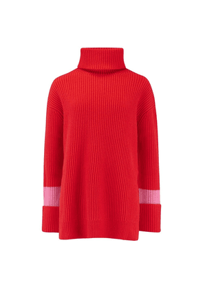 Chinti and Parker Oversized Rib Sweater in Bright Red