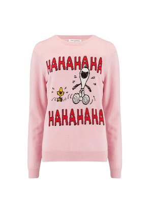 Chinti and Parker Laughing Snoopy Sweater in Pink