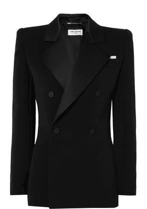 SAINT LAURENT - Silk Satin-trimmed Wool Mini Dress - Black