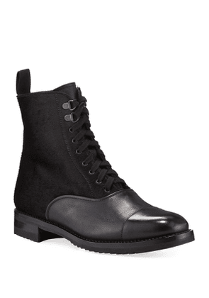 Mixed Leather Lace-Up Hiker Boots