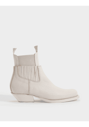 Mid-Heeled Ankle Boots in White Grained Calfskin