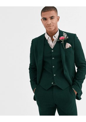 ASOS DESIGN wedding super skinny suit jacket in forest green micro texture