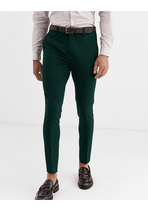 ASOS DESIGN wedding super skinny suit trousers in forest green micro texture