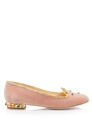 Charlotte Olympia Flats Women - BEJEWELLED KITTY PETAL PINK&MULTICOLOR Velvet 36