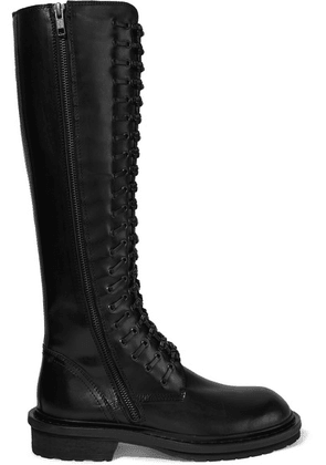 Ann Demeulemeester - Lace-up Leather Knee Boots - Black